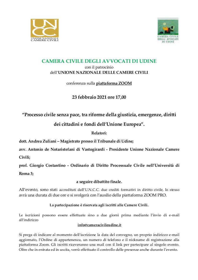 Locandina evento processo civile